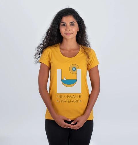 Freshwater Skate Park Tee Shirt in yellow